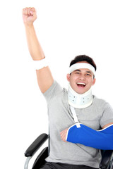 cheerful injured young man raise his hand