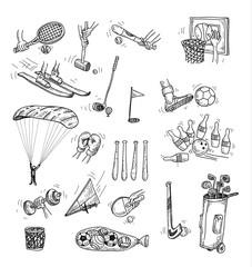 Sport icon set, Hand drawn vector illustration