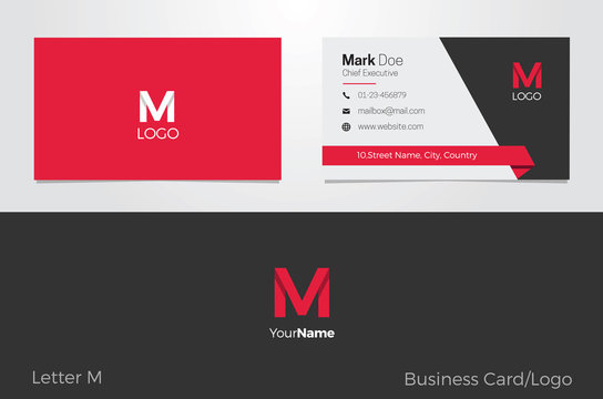 M Letter Logo Corporate Business card