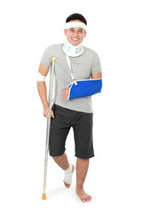 injured young man on crutch