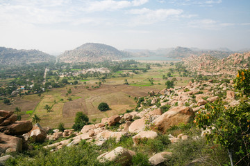 Hampi landscape from top of a hill