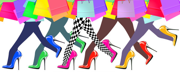 woman legs with high heel shoes and shopping bags