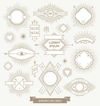 Set of sunburst line emblem and hipster labels
