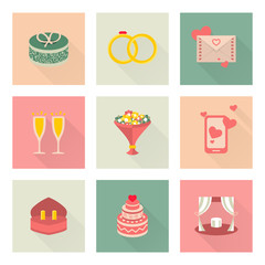 Wedding flat vector icons, gift, rings, envelope etc.