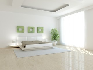 white bedroom-3d rendering