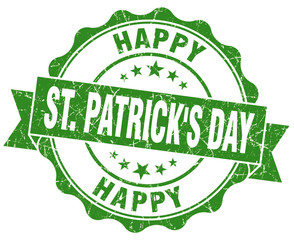 happy st Patrick's day green grunge seal isolated on white