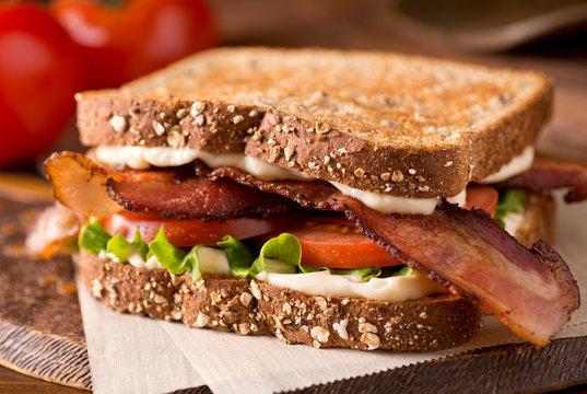 Bacon, Lettuce, and Tomato BLT Sandwich