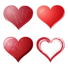 Grunge hearts set on Valentines day background