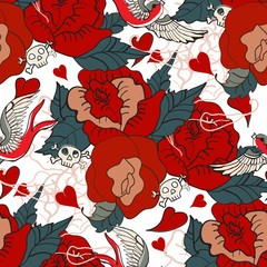Seamless Vintage pattern with flowers