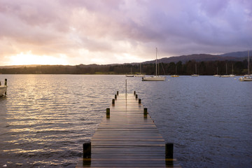 Jetty in Lake District national park, England, UK