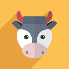 Vector illustration of a cute cow with a long shadow