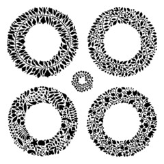 Set of 5 hand-draw vector wreaths for stationary