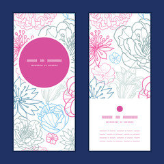 Vector gray and pink lineart florals vertical round frame
