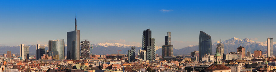 Views of Milan with Alps in the background
