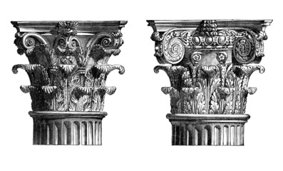 Wall Mural - Victorian engraving of Corinthian column capitals