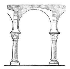 Victorian engraving of a horseshoe arch