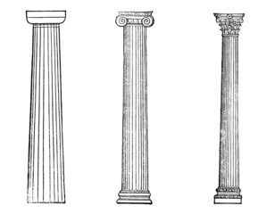 Wall Mural - Victorian engraving of ancient Greek columns