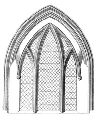 Victorian engraving of a Gothic window arch