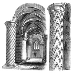 Victorian engraving of Gothic architectural details