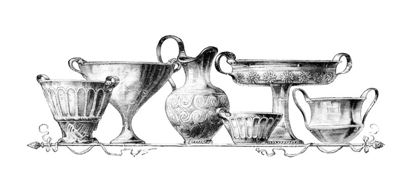 Victorian engraving of gold vessels from Mycenae, Greece