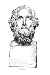 Wall Mural - Victorian engraving of a bust of Homer