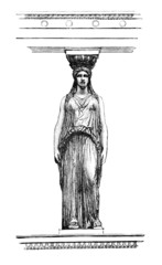 Wall Mural - Victorian engraving of a caryatid at Erechtheion, Athens