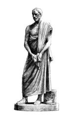 Victorian engraving of a sculpture of Demosthenes