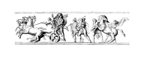 Wall Mural - Victorian engraving of a  frieze of Alexander the Great