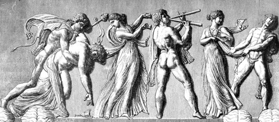Victorian engraving of a frieze depicting bacchanals