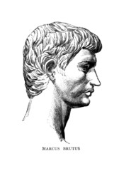 Wall Mural - Victorian engraving of a bust of Brutus