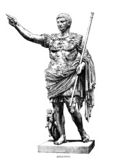 Wall Mural - Victorian engraving of a sculpture of Augustus Caesar