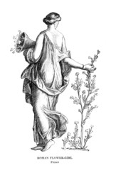 Wall Mural - Victorian engraving of a fresco of a Roman flower girl
