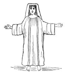 19th century engraving of a praying woman