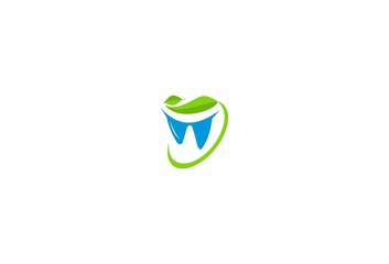 Healthy dent, tooth,logo, nature green leaves
