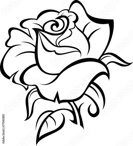 """""""Rose silhouette with leaves. Vector illustration."""" Stock ..."""
