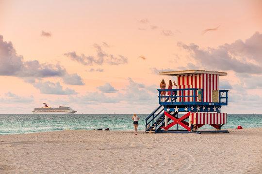 Lifeguard Tower in South Beach, Miami Beach, Florida