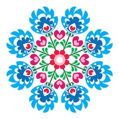 Polish round folk art pattern - Wzory Lowickie, Wycinanka - fototapety na wymiar
