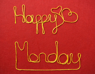 monday ribbon greeting and hearts on red background