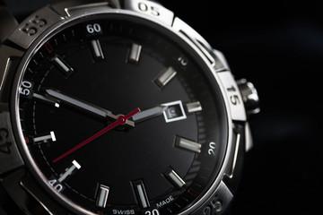 luxury man watch detail, chronograph close up