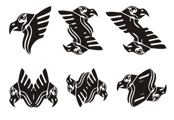 Tribal eagle head symbols