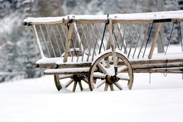 wooden carriage in winter