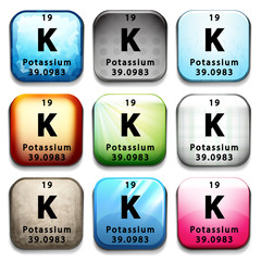 An icon showing the element Potassium