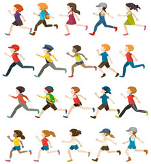 Faceless people running