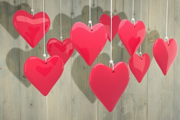 Wall Mural - Composite image of love hearts