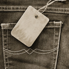 Cardboard tag on jeans