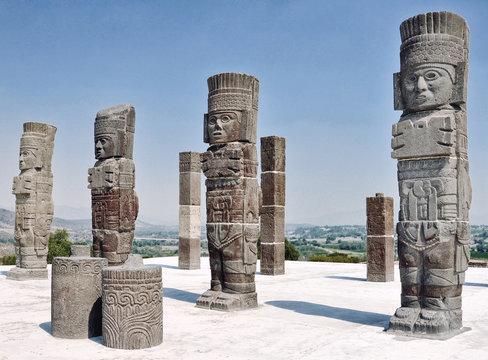 Toltec Warriors columns at the Pyramid of Quetzalcoatl in Tula