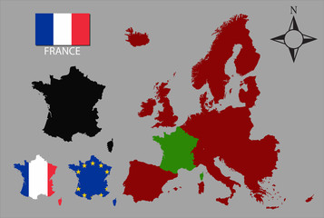 France - Three contours, Map of Europe and flag vector