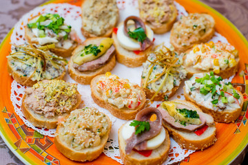 Appetizers with cheese and ham vegetables