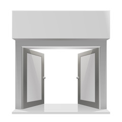 The door to the store on a white background