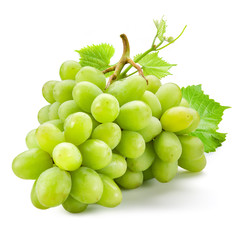Fototapete - Fresh green grapes with leaves. Isolated on white